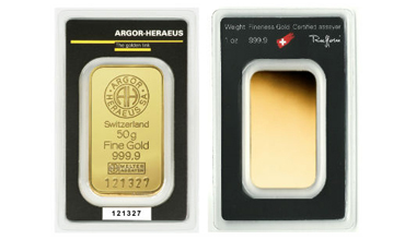 Argor-Heraeus Gold Minted Bar 50 gram
